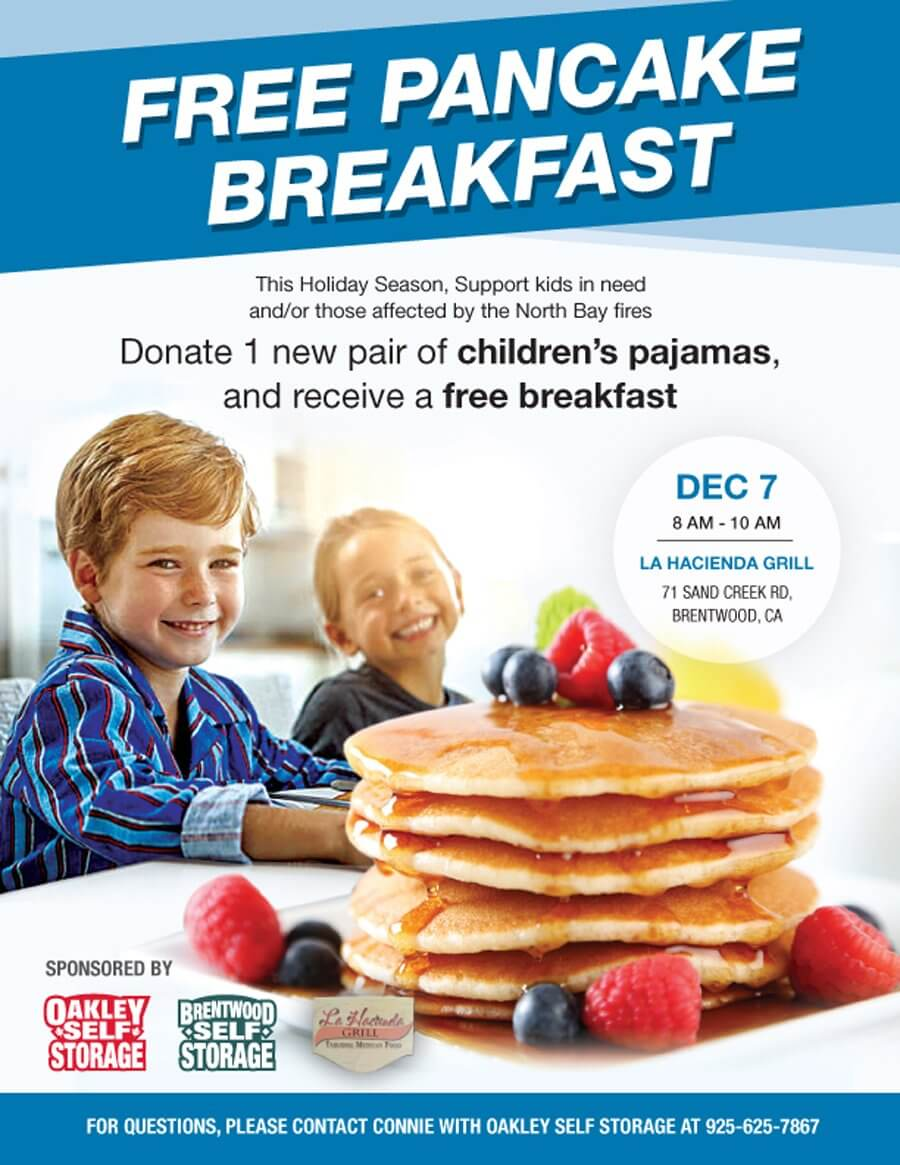 Brentwood Self Storage is Proud to Support a Free Pancake Breakfast at La Hacienda Grill