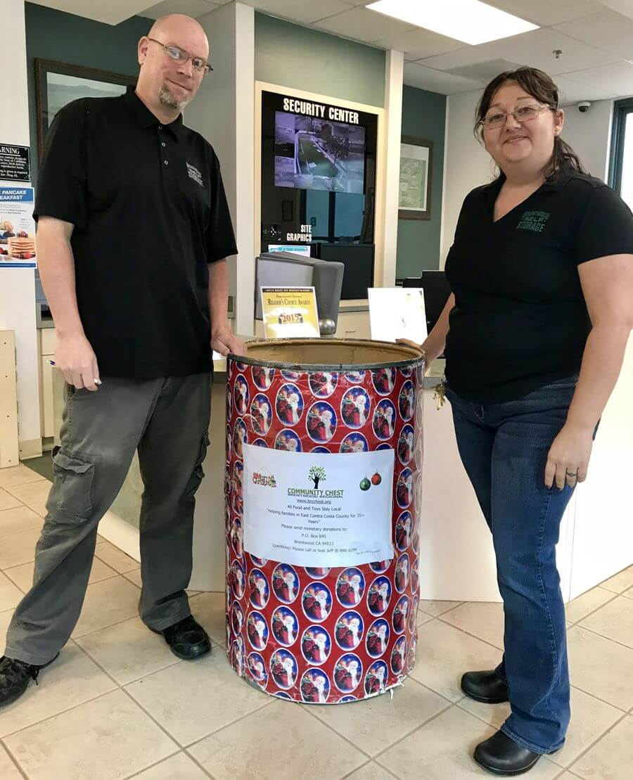 Brentwood Self Storage is Proud to Announce Our Collection Barrel for the Community Chest
